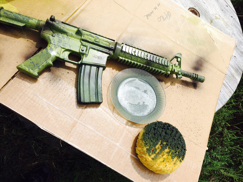 first coat green paint on black rifle 2