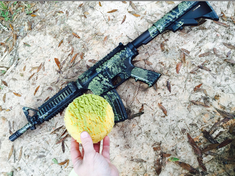 sponge paint onto gun