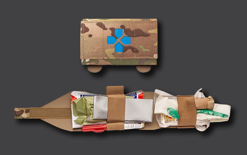 Multicam Micro Trauma Kit Now! showing advanced supplies Deployed Medical Gear in Seconds